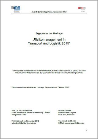 Logistik-Umfrage 2012 - Risikomanagement