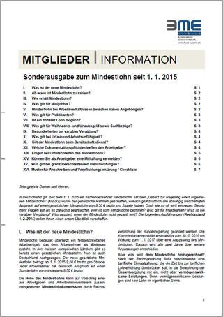 BME-Unterlagenpaket Mindestlohn