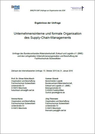 Logistik-Umfrage 2015 - SCM-Organisation
